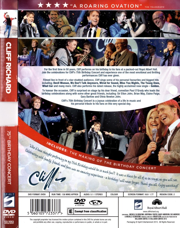 Cliff Richard DVD - Birthday Concert Video back cover