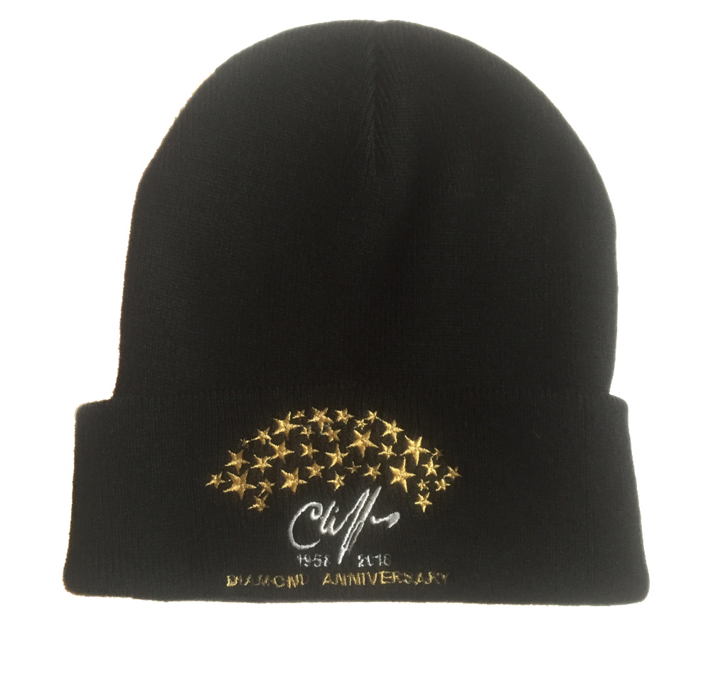 Cliff Richard embroidered beanie hat / ski cap in black with diamond anniversary design