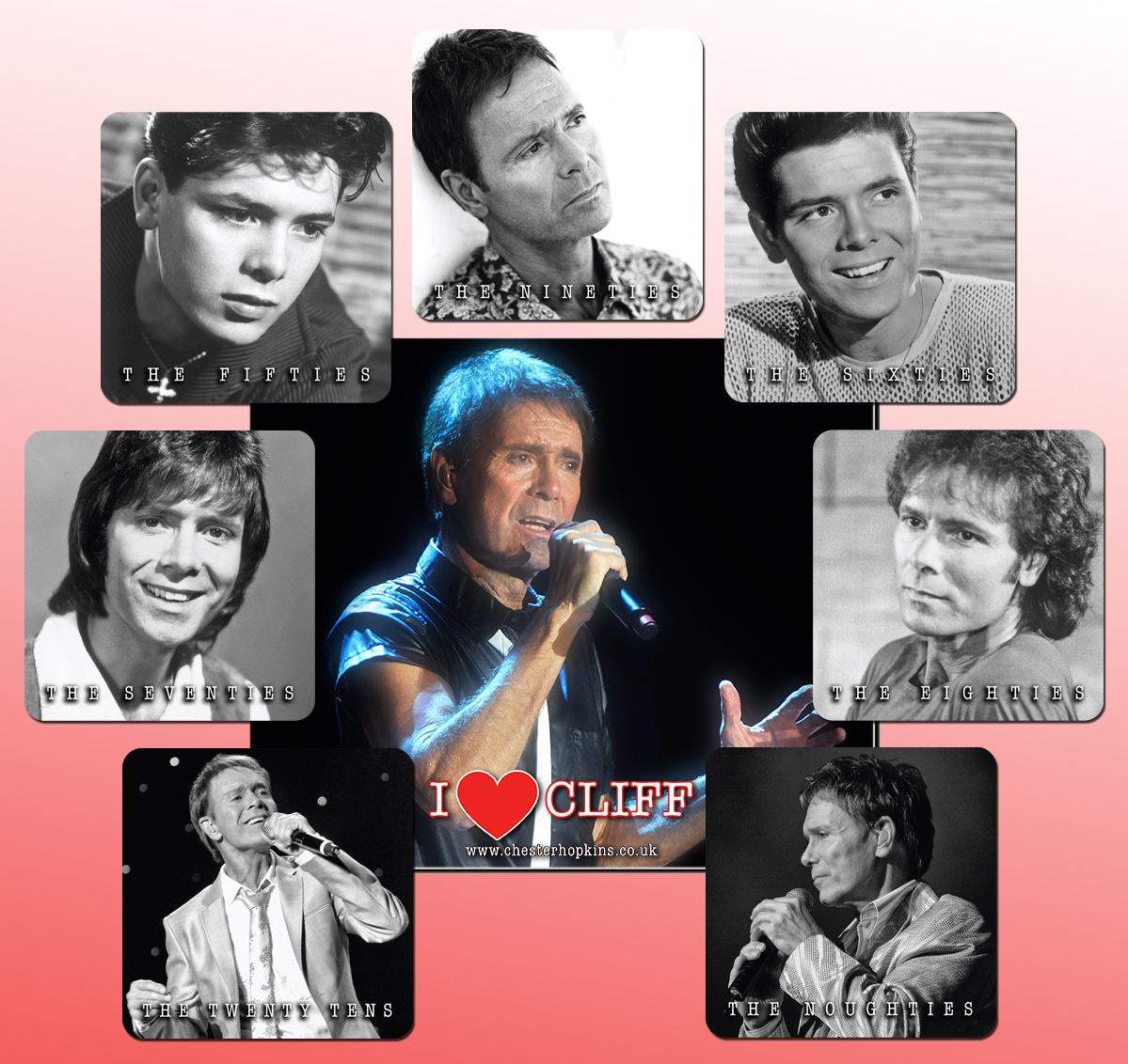 Cliff Richard mousemat and 7 coasters celebrating Cliff through the decades.