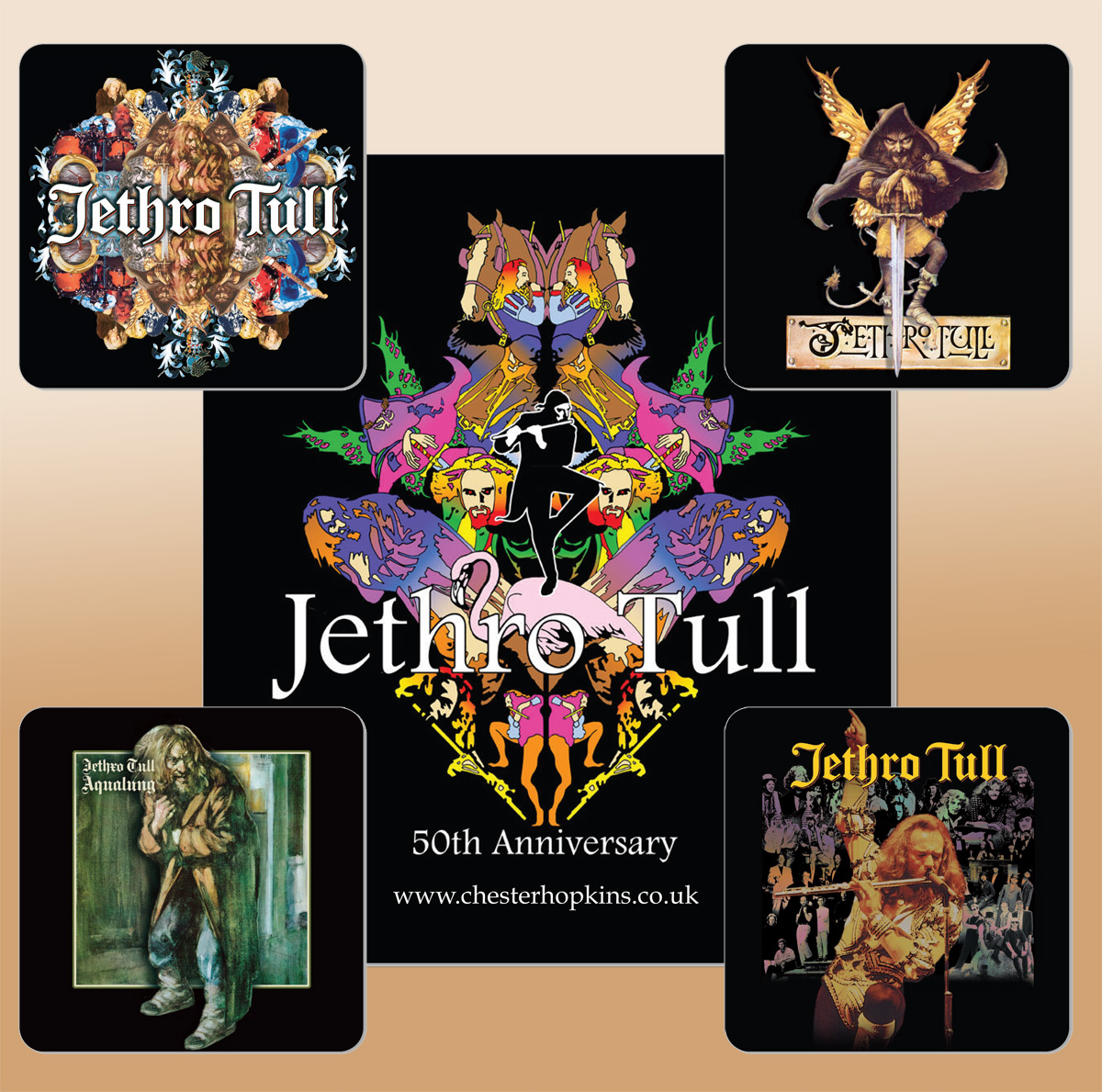 Jethro Tull Mouse Mat & 4 Drinks Coasters featuring designs as shown.