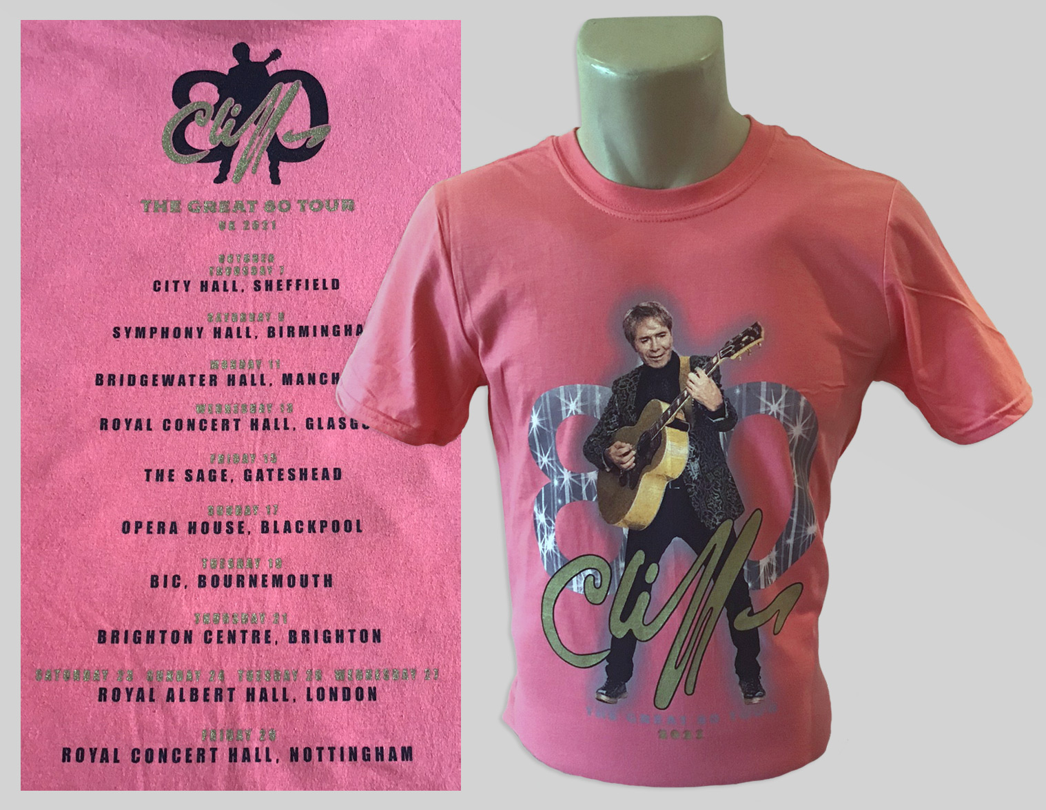 Cliff Richard Coral Silk/Salmon (Pink) soft spun cotton shirt with Great 80 design and OPTIONAL tour dates on the back.