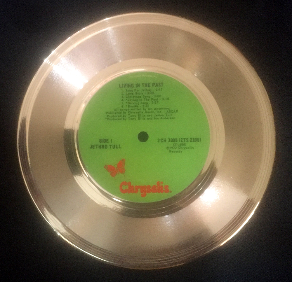 "Jethro Tull 7"" Living In The Past Gold Disc"