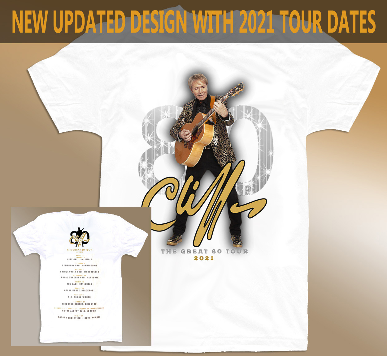 """!!NEW!! Cliff Richard """"The Great 80"""" Tour T-Shirt [WHITE]"""