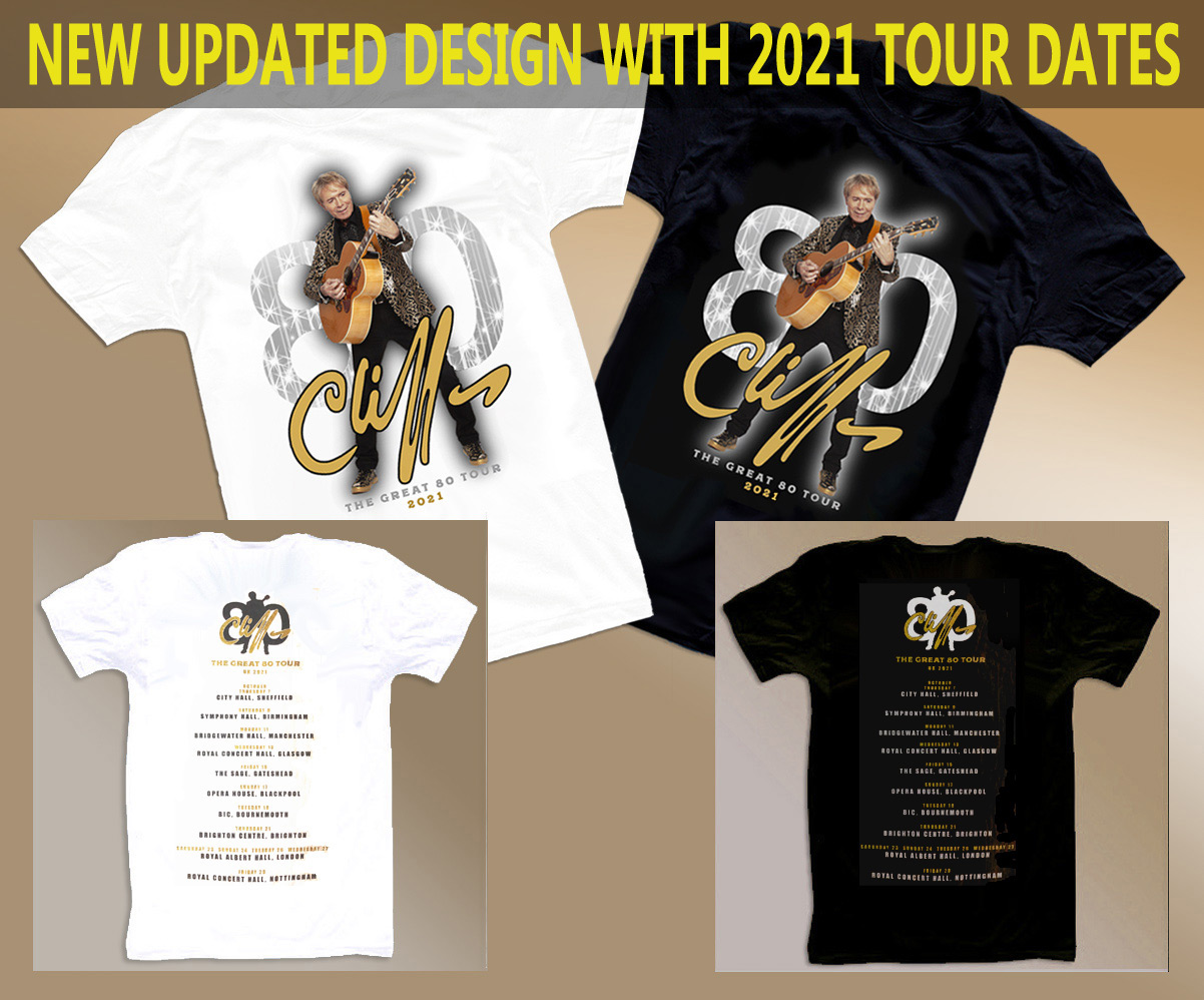 """!!NEW!! Both Cliff Richard """"The Great 80"""" Tour T-Shirts+FREE MOUSEMAT & DRINKS COASTERS!"""