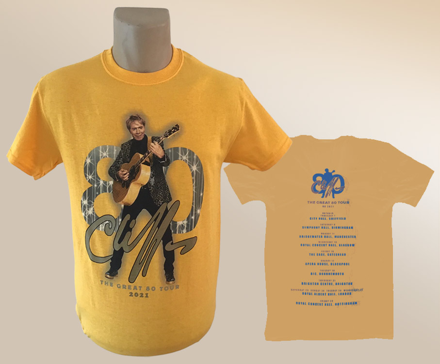 """!NEW! Cliff Richard """"The Great 80"""" 2021 Tour T-Shirt [GOLD] (WITH OPTIONAL BACKPRINT)"""